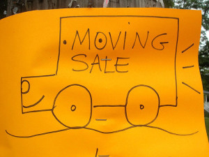 hand-drawn moving sale sign