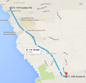 Route from YFNA's house to his bank and back