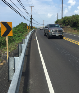 Pedestrian not-friendly stretch of road. Kuakini Highway, Kailua Kona.