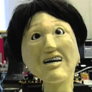 asian grandmother robot face view