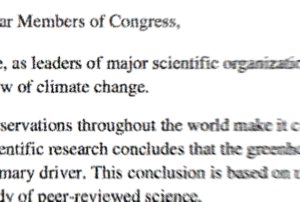 Scientist's Climate Change Letter snippet