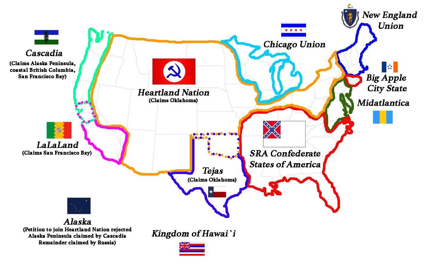 "Map of the ""USA"" after a Brexit-like vote to repeal the Constitution and break up the Union."