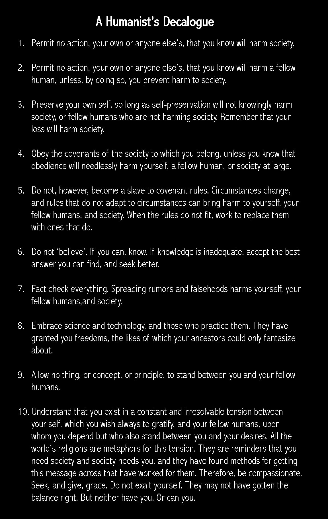 A humanist's decalogue